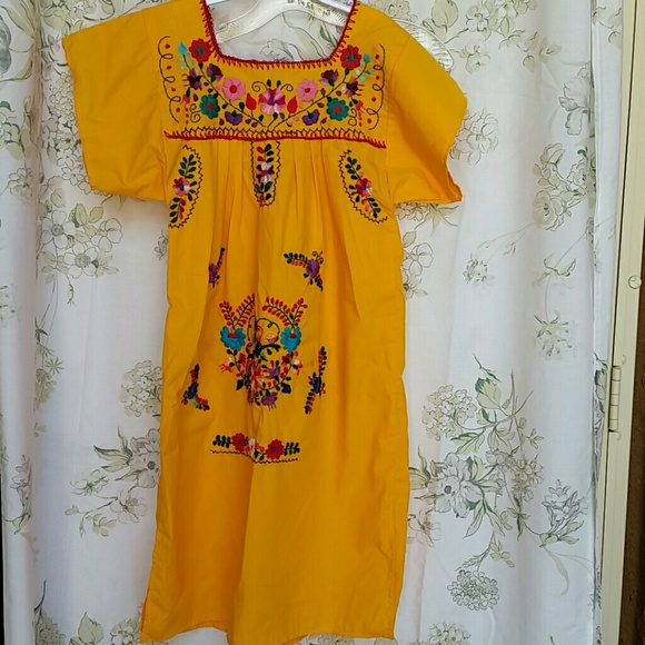 5f9ea6568b6 Made in Mexico Other -  Vintage  Mexican embroidered yellow red dress 90s